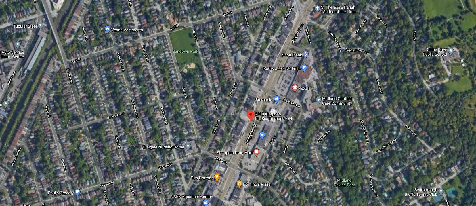 Aerial view locating 2380 Kingston Road, Toronto, image retrieved from Google Maps