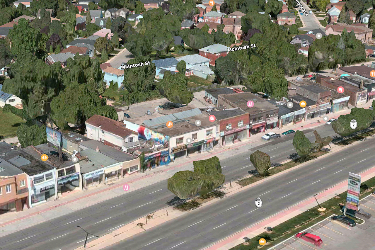 Looking north to 2448 and 2450 Kingston Road, Toronto, image retrieved from Apple Maps