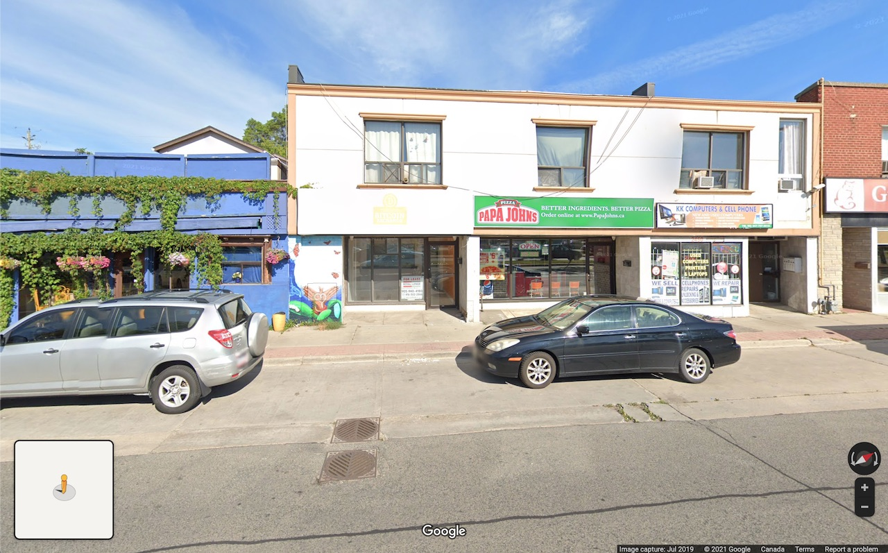 Looking north to 2450 Kingston Road, Toronto, image retrieved from Google Street View