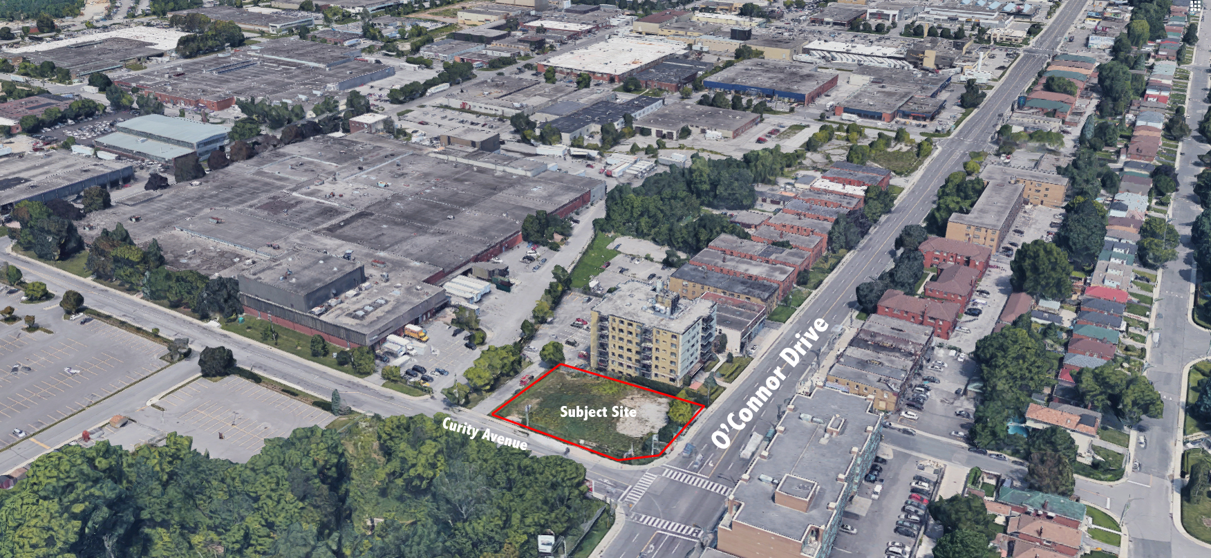 Satellite View of Site, 968 O'Connor Drive, RAW design, City of Toronto