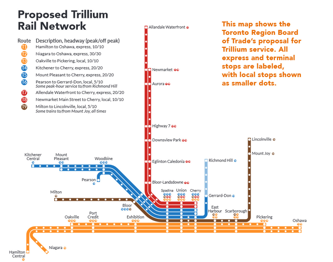 Map of the proposed Trillium Network and its service plan