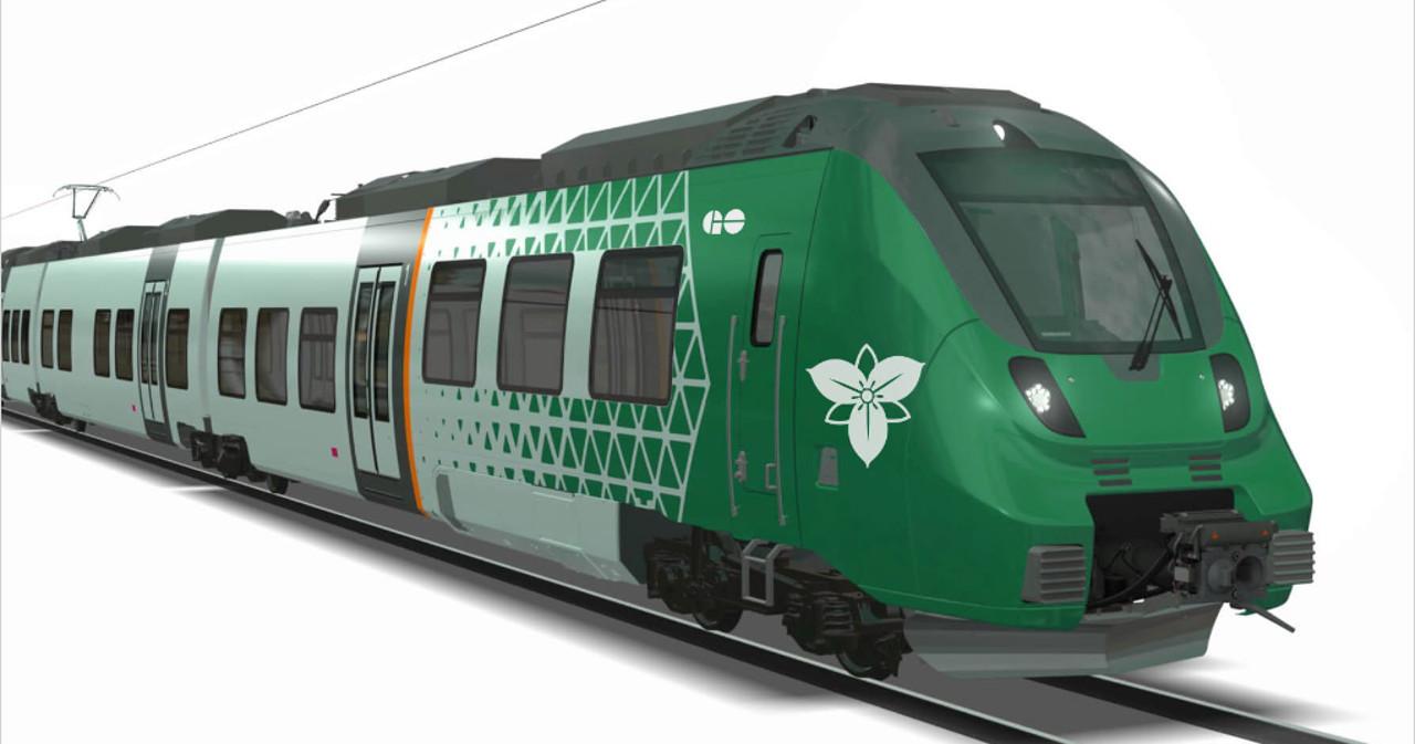 """Mock-up"" of a Trillium Network GO train"