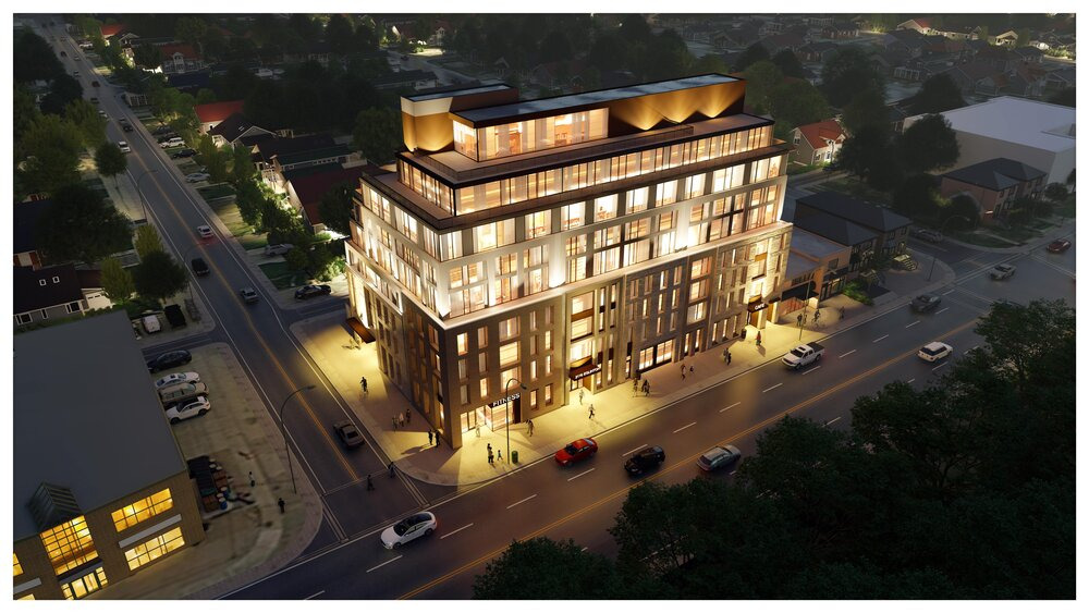 Looking northeast to 2116 Eglinton Ave West, Toronto, designed by Studio JCI for Old Stonehenge