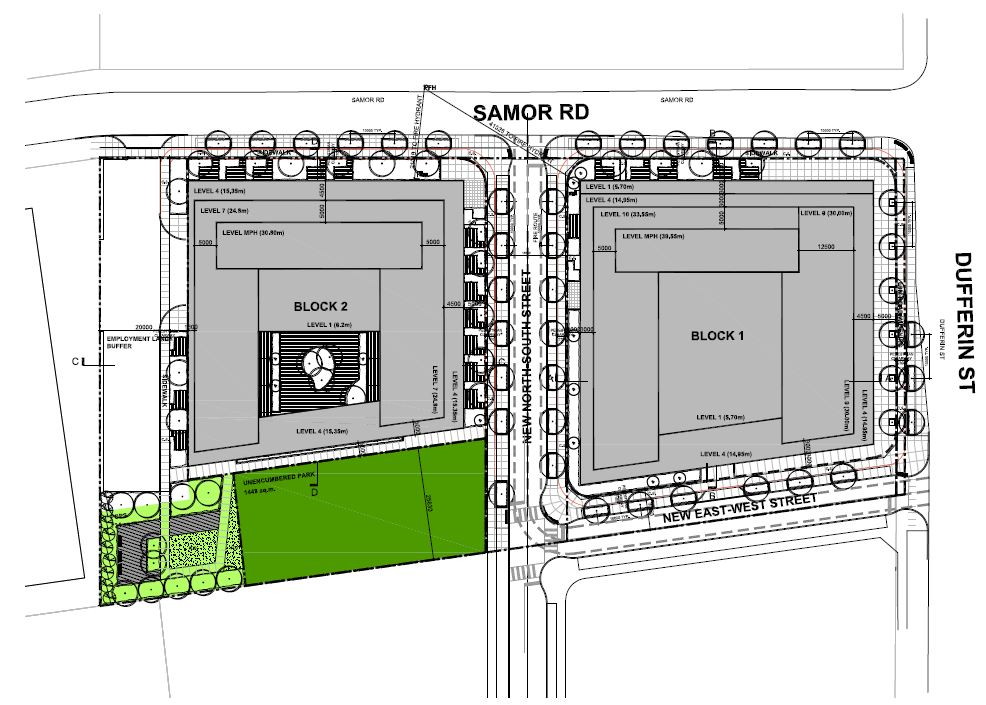 Site Plan, 3180 Dufferin Street, Toronto, designed by IBI Group for RioCan REIT and Woodbourne Canada Management Inc