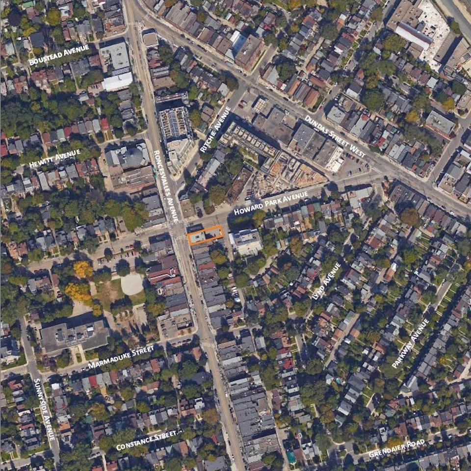 Location of 421 Roncesvalles Avenue, Toronto, designed by superkül for Propeller Developments