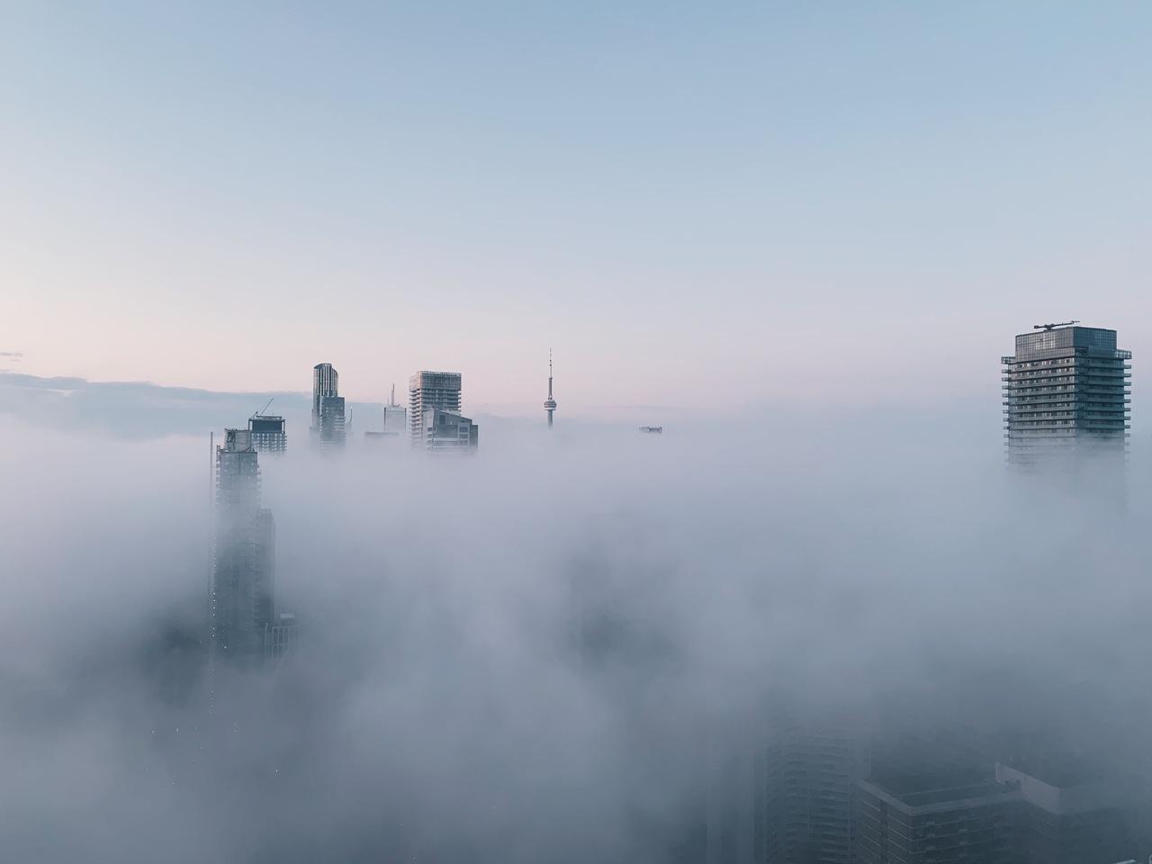Daily Photo, Toronto, skyline, Downtown, fog, cloud, towers