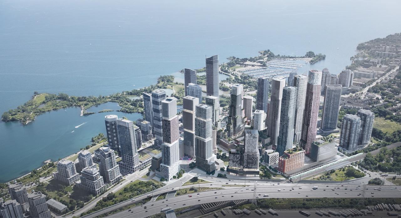 Aerial view of 2150 Lake Shore Boulevard West development