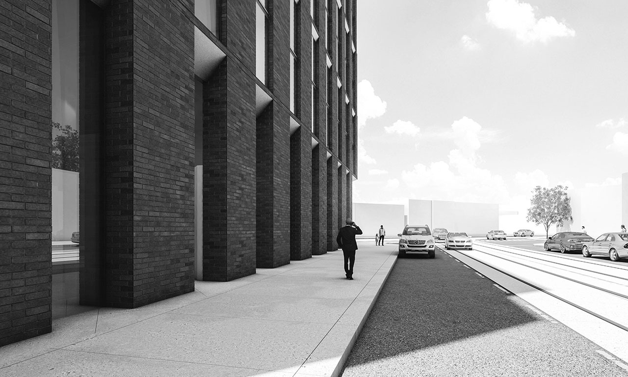 Artist Rendering of streetscape, 6 Howards Park Ave, architects-Alliance, Lamb Development Corp