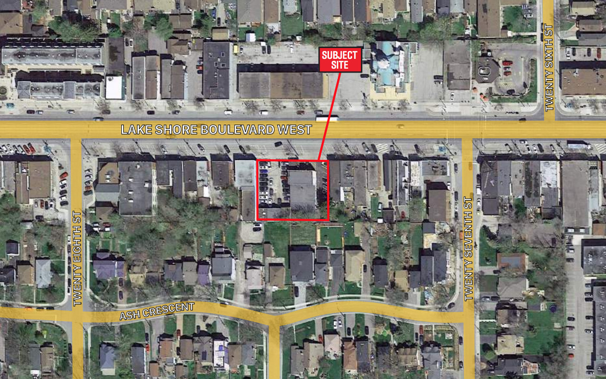 Site of the proposed development at 3553 Lake Shore Boulevard West, Toronto