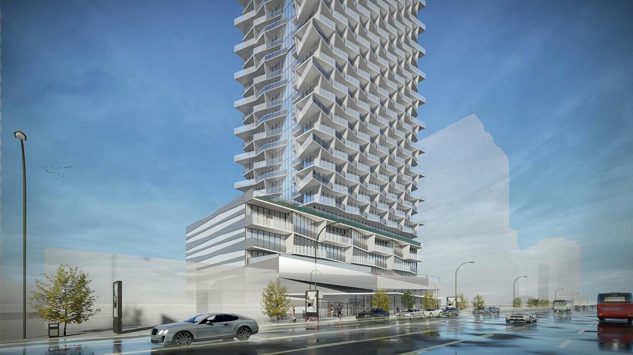 2018 Rendering facing northwest at 5400 Yonge Street, Toronto, designed by Kirkor Architects for Fieldgate Urban