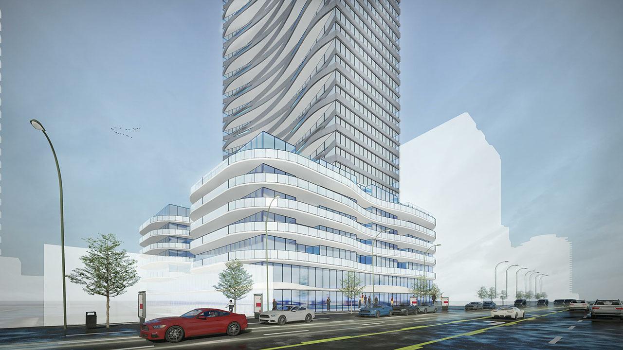 2020 Rendering facing northwest at 5400 Yonge Street, Toronto, designed by Kirkor Architects for Fieldgate Urban