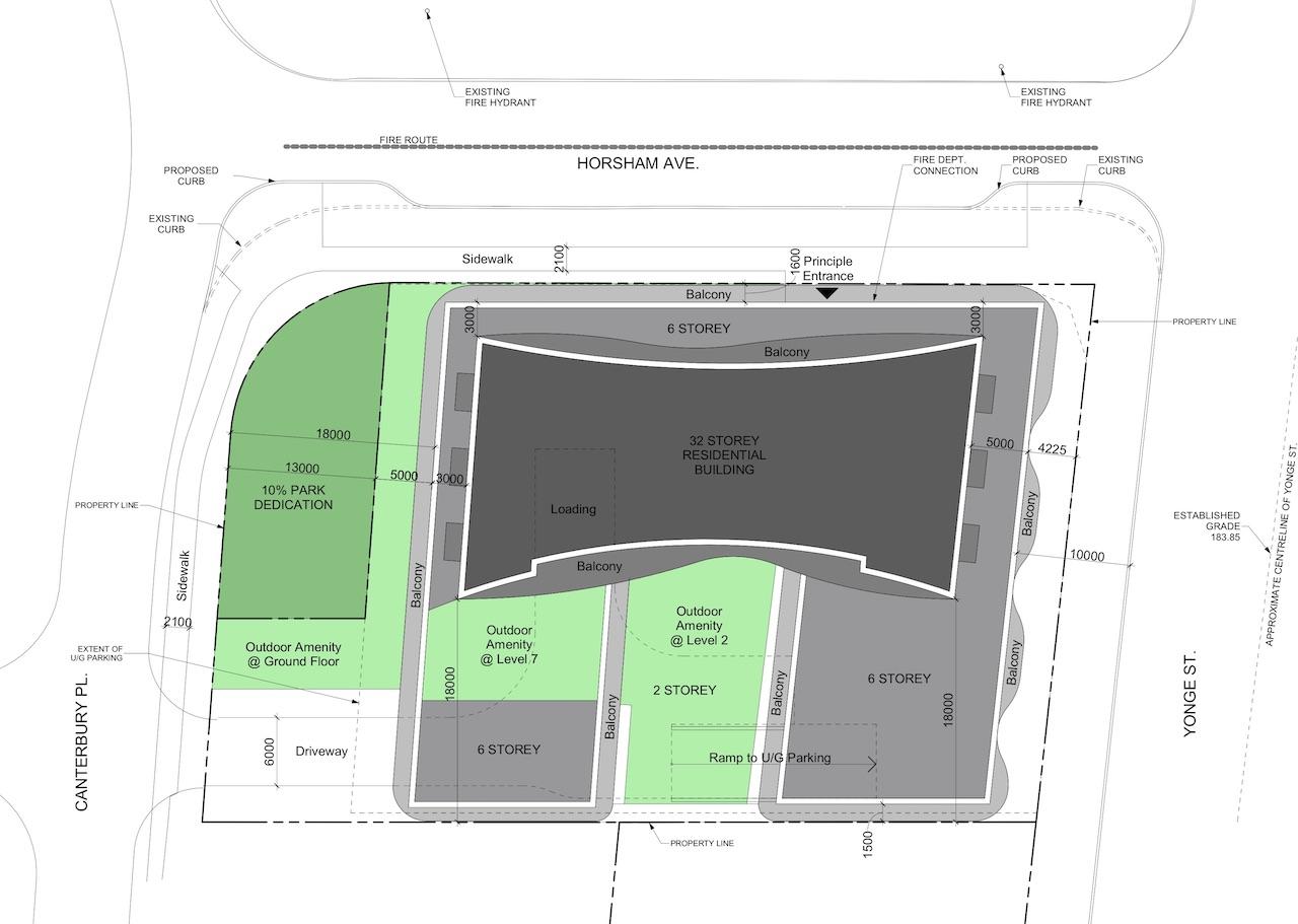 Site Plan, 5400 Yonge Street, Toronto, designed by Kirkor Architects Planners for Fieldgate Urban