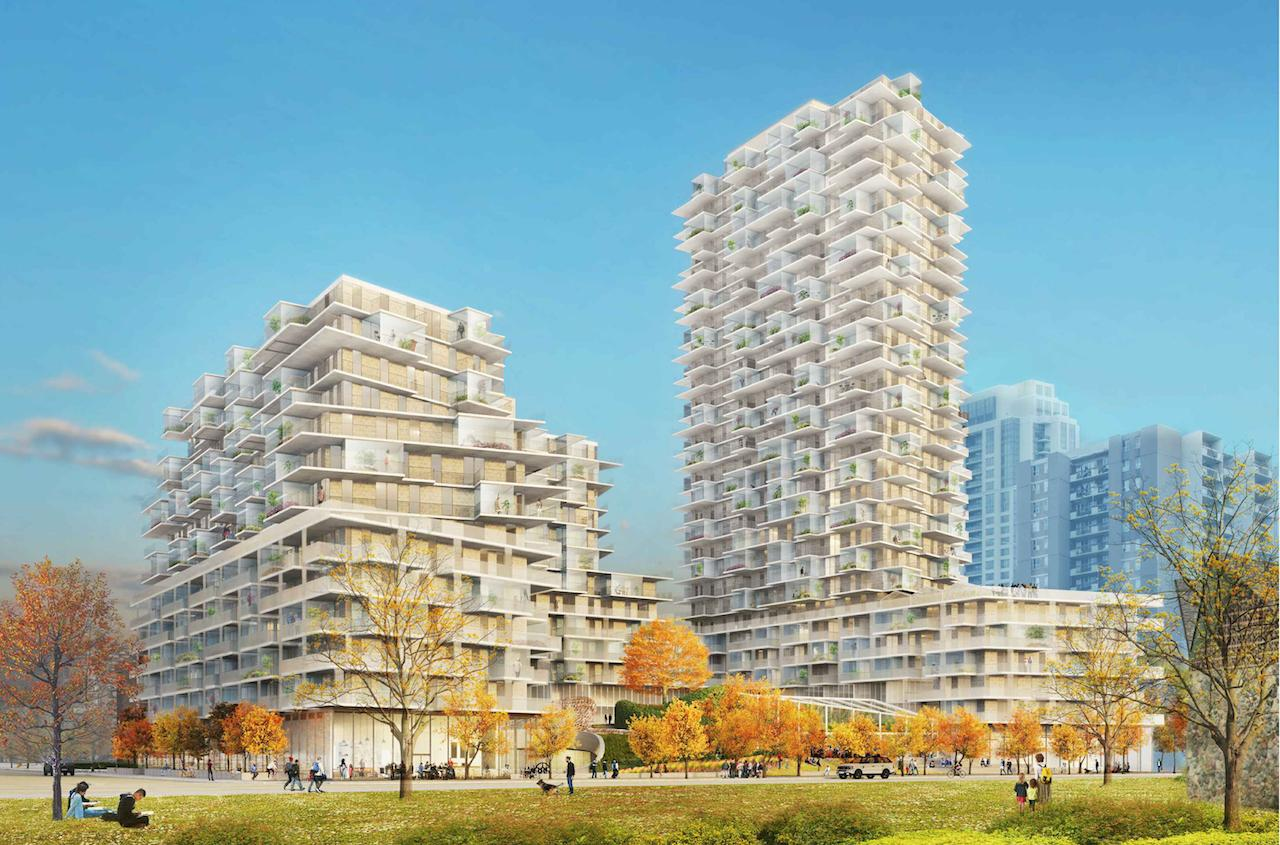 Looking southeast to 385 The West Mall, Toronto, 2019 version, designed by SvN for TAS