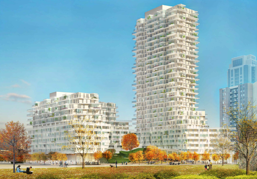 Looking southeast to 385 The West Mall, Toronto, 2020 version, designed by SvN for TAS