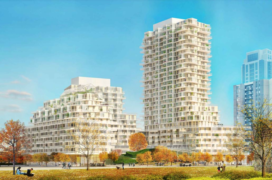 Looking southeast to 385 The West Mall, Toronto, 2021 version, designed by SvN for TAS