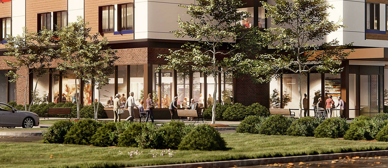 Humber River Long Term Care Home Development, Toronto, designed by Montgomery Sisam Architects for Humber River Hospital.