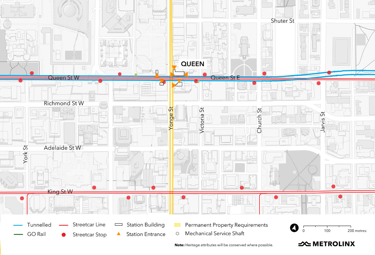 Map of the area around Queen Station