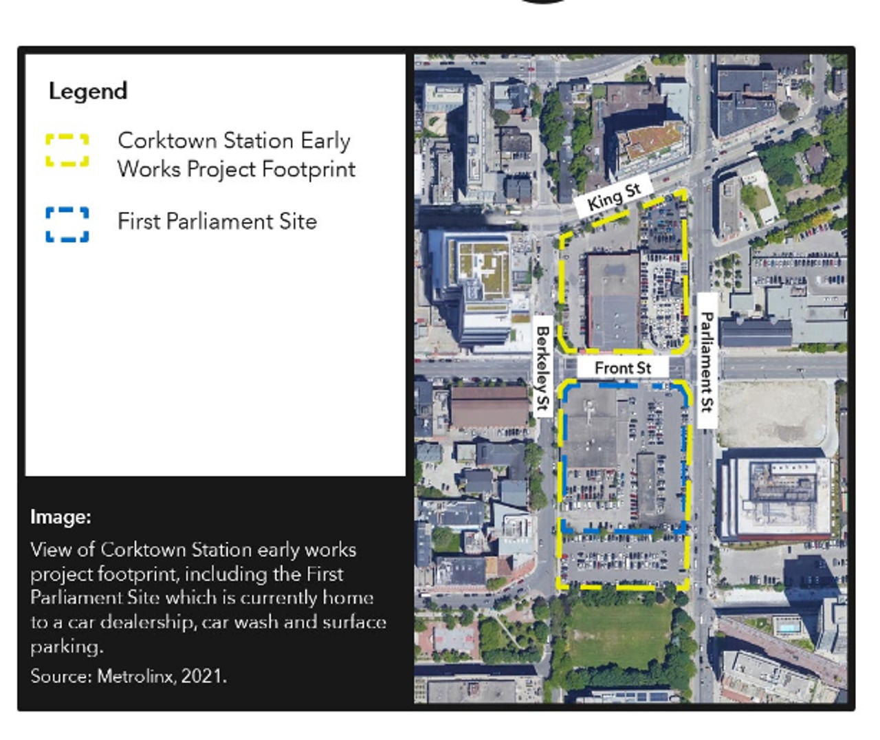 Map of the area around Corktown Station