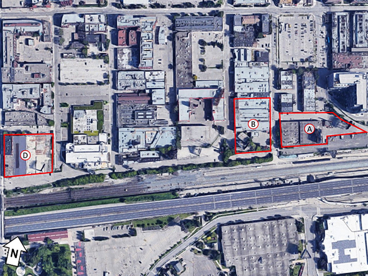 Aerial photo showing three sites for transit-oriented communities near Exhibition Station