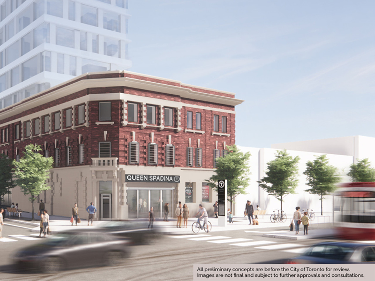 Rendering of proposed Queen-Spadina Station site