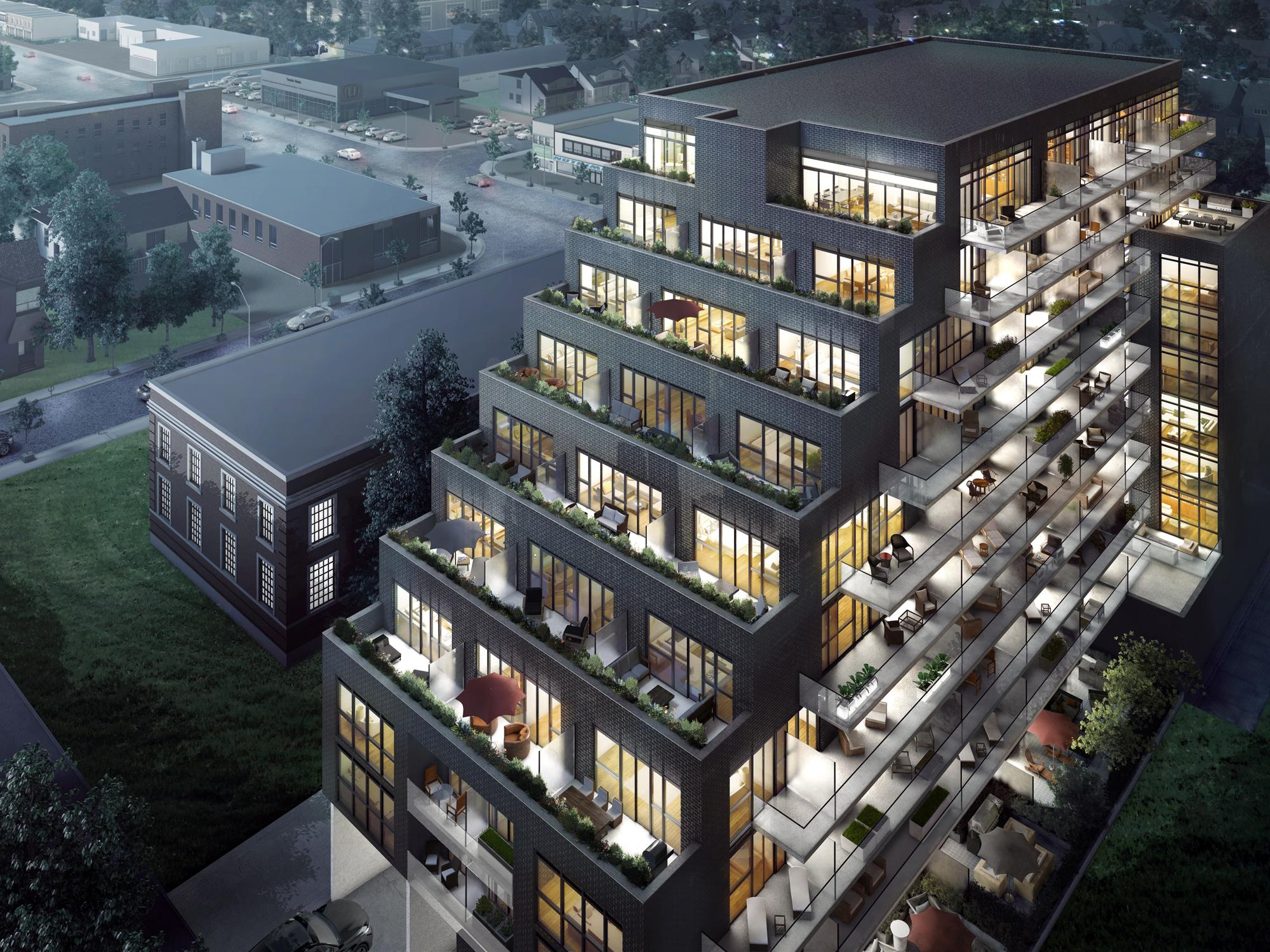 Danny Danforth Condos, Toronto, designed by Onespace Unlimited for Gala Developments