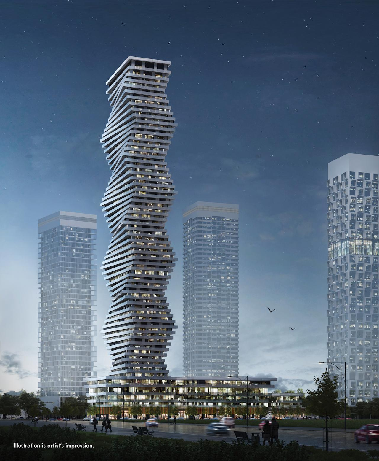 Night-time view of M City Phase 1, designed by Core Architects for Urban Capital / Rogers