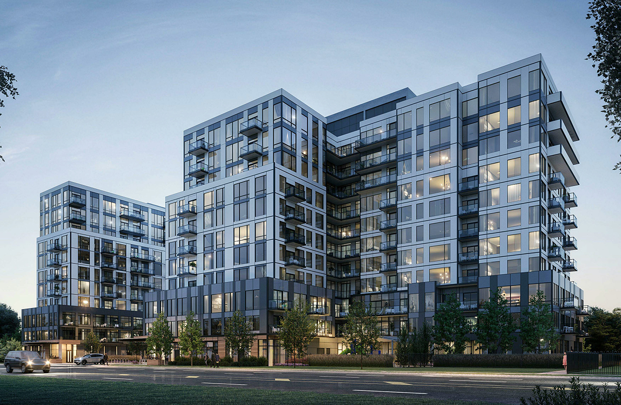The Narrative Condos at 7437 Kingston Road, Toronto, designed by Kirkor Architects Planners for Crown Communities