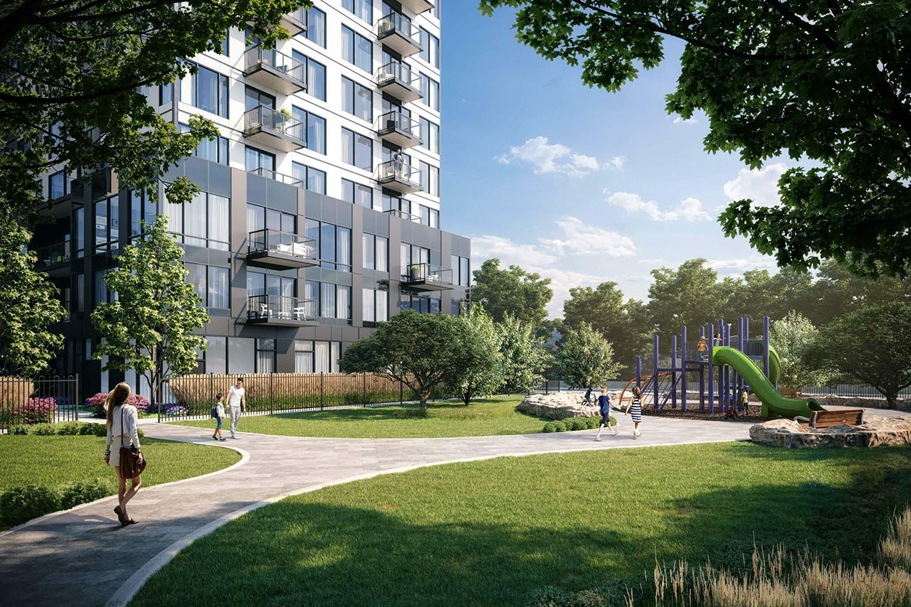 The Narrative Condos at 7437 Kingston Road, designed by Kirkor Architects Planners for Crown Communities